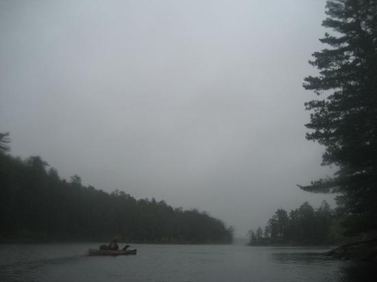 Moose Track Adventures: Paddling towards our island campsite in the rain.