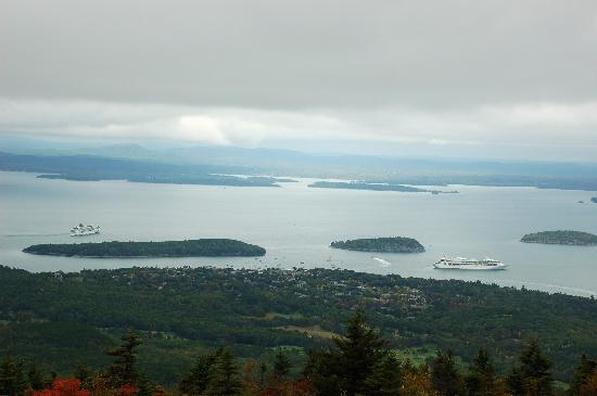 The Birches Bed and Breakfast: Cruise ships off Bar Harbor, from the top of Cadillac Mnt.