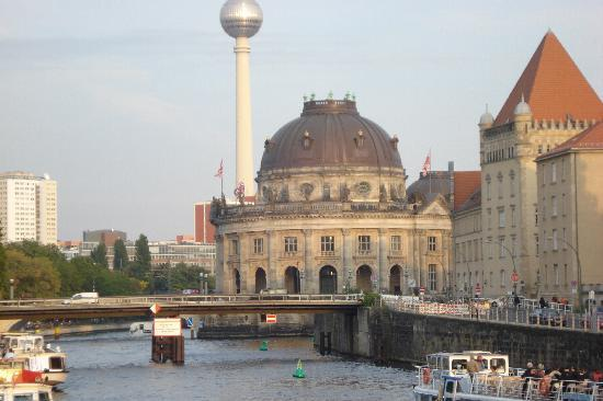 "Riverside City Hotel: View of ""museum island"" from hotel"