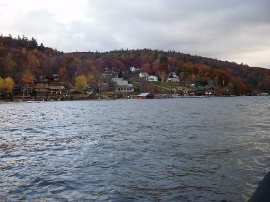 Trout House Village Resort : The resort is to the left, this is from a row boat on the lake.