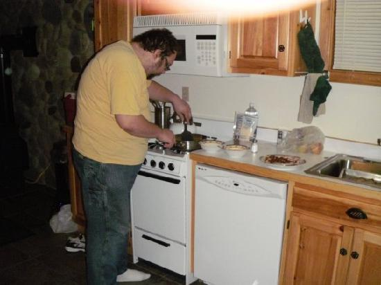 Trout House Village Resort : My hubby in the kitchen.