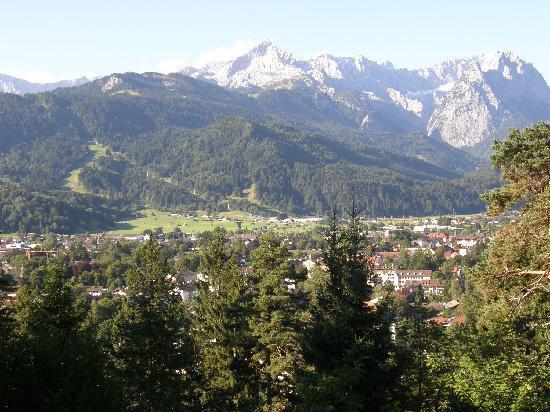 Landhotel & BergGasthof Panorama : View from outdoor terrace of Panorama Berggasthof Hotel, Garmisch-Partenkirchen, Germany