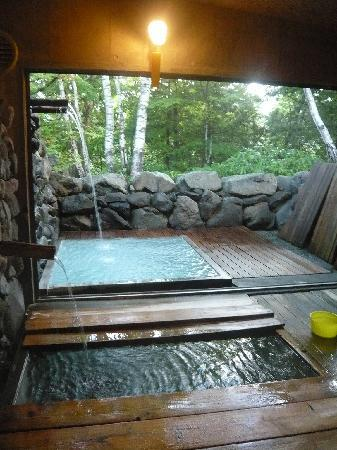 Shibu Tatsunokan: 半露天風呂と内風呂