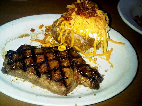 Texas Roadhouse: 12 oz ribeye with a loaded baked potato! Yum!