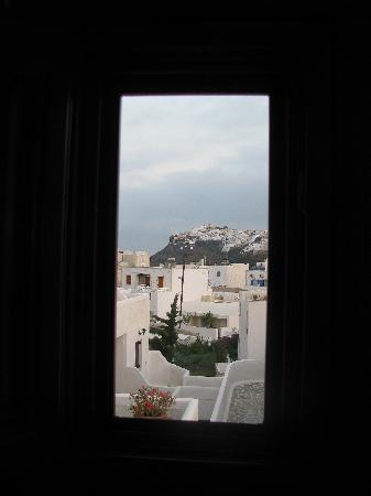 "Santorini Palace: Best view from a ""loo"" -- small window in bathroom"