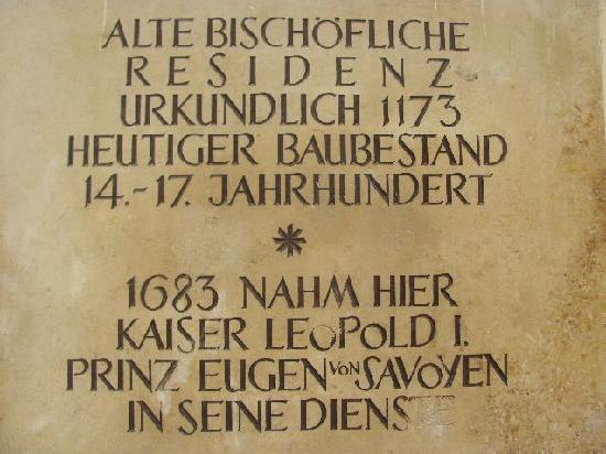 Alte Bischöfliche Residenz: plaque
