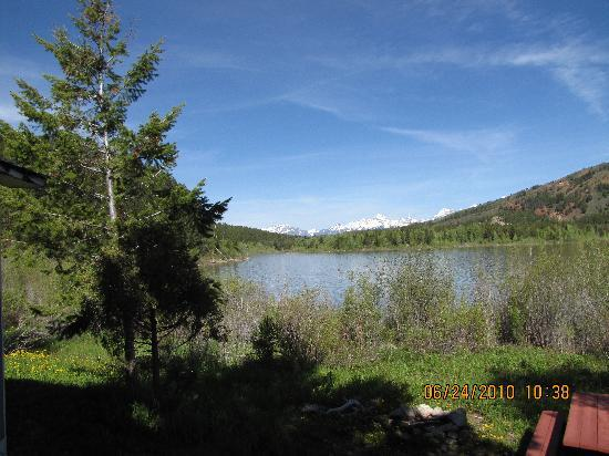 Budges' Slide Lake Cabins: View across lake