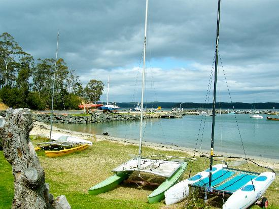 Quarantine Bay Beach Cottages: From by door looking over the bay and boat ramp