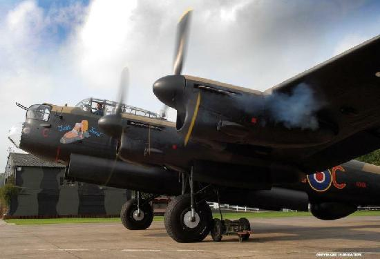 East Kirkby, UK: The Lancaster starting up its engines