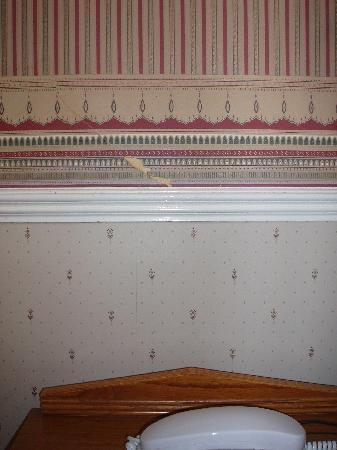 The Grosvenor Hotel : Tear in wallpaper