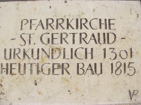 St. Gertraud Church: plaque