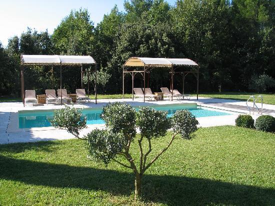 Le Bois Dormant : Blick auf Garten und Pool