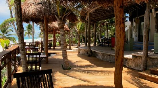 Las Ranitas Eco-boutique Hotel: Restaurant deck overlooking the sea