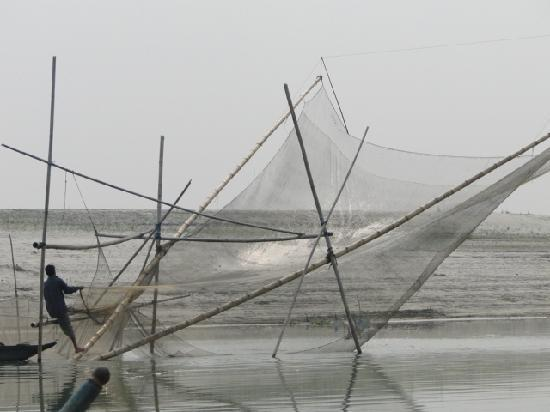 Assam, India: Fishing nets on the River