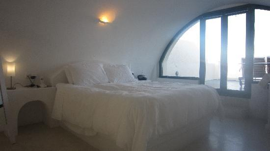 Anastasis Apartments: Bedroom area of White Suite - upper floor of apartment