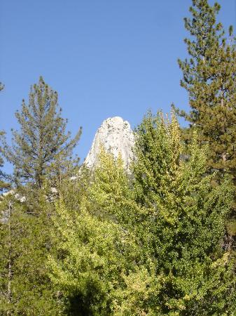 Idyllwild, Kalifornien: classic view of Lily Rock soaring above the forest