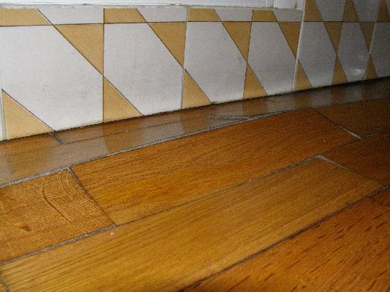 "Casa Astarita Bed and Breakfast: ""Moderna"" -- the buckling wood floor in front of the shower stall."