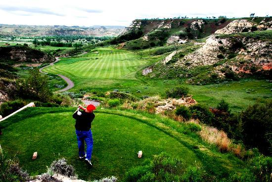 Medora, ND: Golfer on Back 9 at Bully Pulpit Golf Course