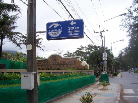 Tsunami sign outside the hotel