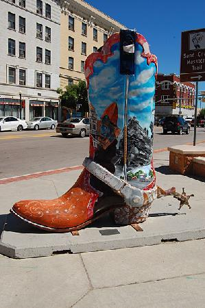Decorations on this boot commemorate milestones in Cheyenne's history.