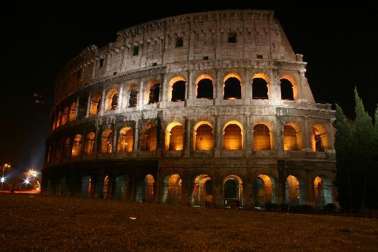 Rome, Italy: Coliseum at night