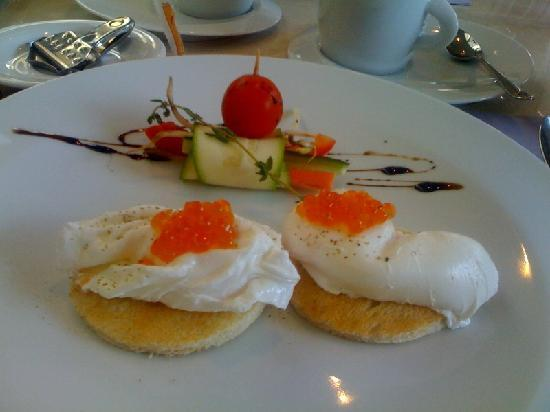 poached eggs at Opera Hotel
