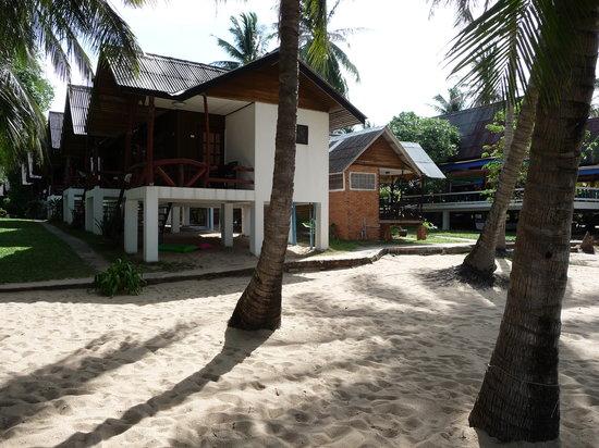 Shangri-La Bungalows: Blick vom Strand