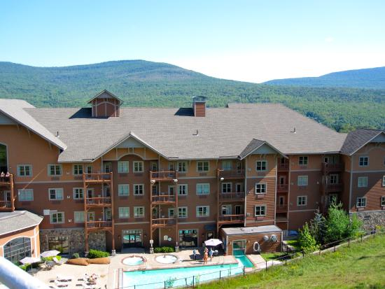 Hunter, NY: looking down at hotel from chair lift
