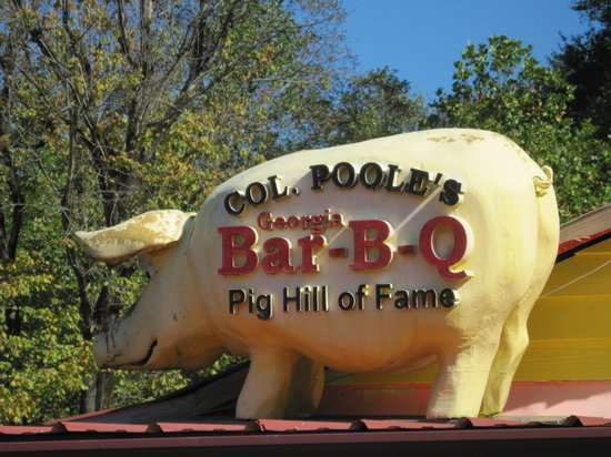 East Ellijay, GA: Col. Pooles Pig Hall Of Fame - pig on roof, Ellijay GA