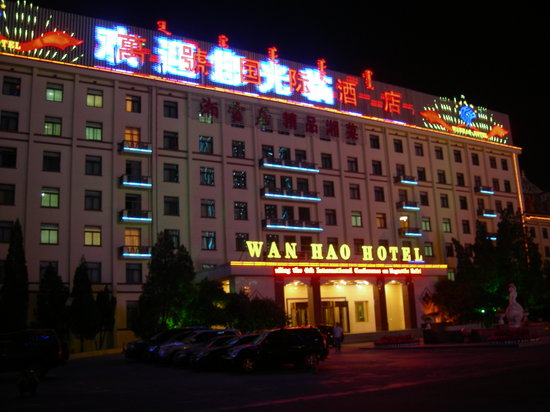 Wan Hao International Hotel : Older part of hotel at night.