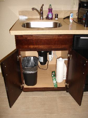 Homewood Suites Dallas/Allen: Under Sink-paper towels and Cascade