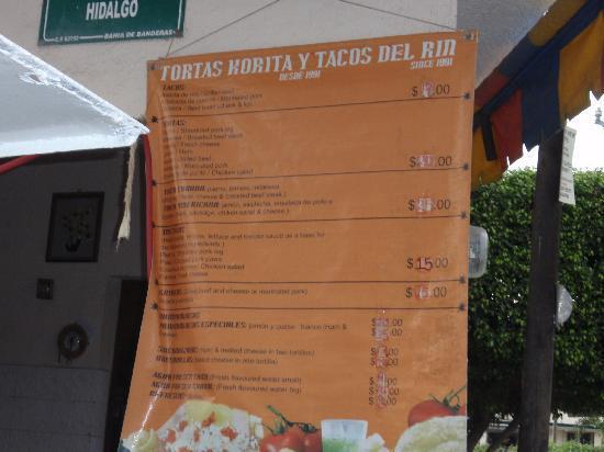 Tortas Korita / Tacos del Rin: menu sign Tacos del Rin