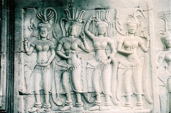 Siem Reap, Cambodia: The entrance to Angkor Wat, one of the many carvings adorning the walls here