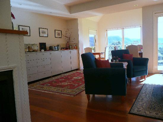 The Drawing Rooms of Berry: Living plus window dining area for guesthouse visitors, shows kitchen where buffet gets set up