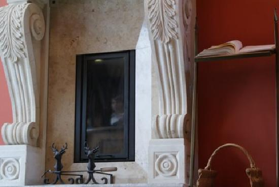 Hotel Grodek : Magda reflected in the fireplace