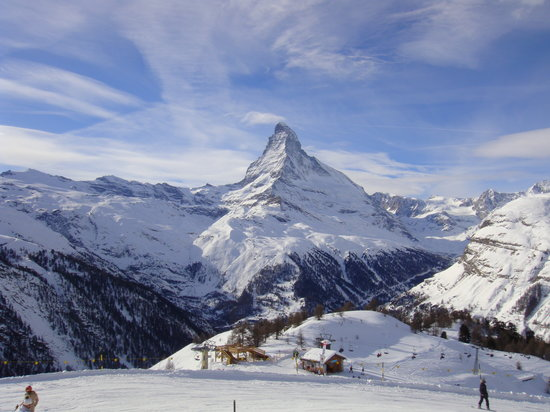Zermatt, Schweiz: the Matterhorn from Sunnegga paradise (winter)