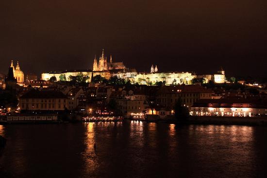 Anna Hotel: Prague Castle at night, taken from Charles Bridge.