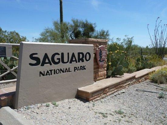 Rincon Mountain Visitor Center: Entrance Sign Saguaro NP East