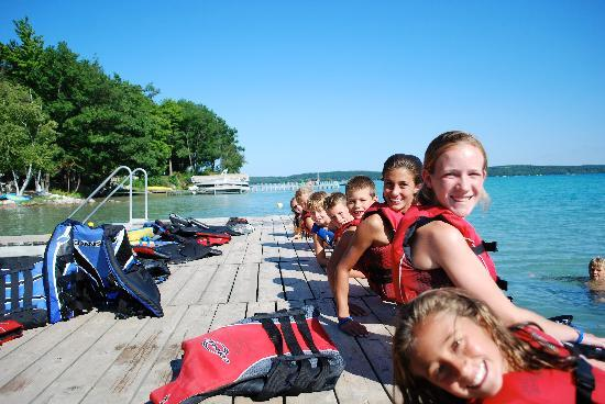 Elk Rapids, MI: Kids on ski dock