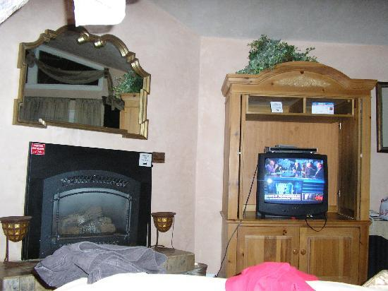 Stargazer Inn and Suites: Fireplace and TV