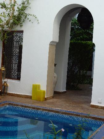 Riad l'Orangeraie: pool & lobby view