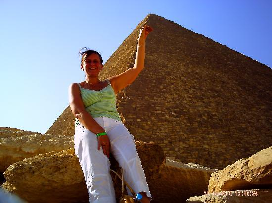 Aqua Blue Sharm Excursions - Day Tours: Tracie nearly touching the top of the Pyramid