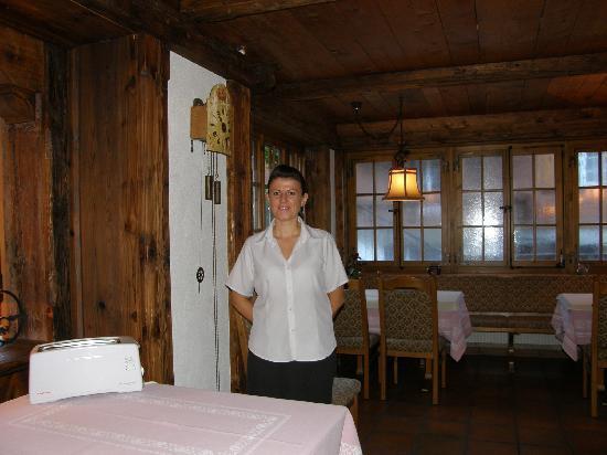 Elizabeth, 1 of our great servers at Chalet Hotel Gletschergarten, Grindelwald, Switzerland