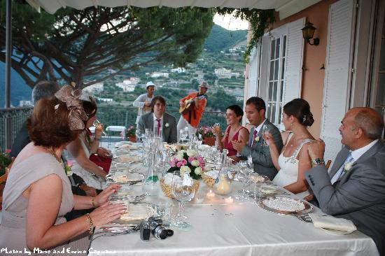 Ravello, Italy: Our wedding reception meal. Suite, Villa Maria