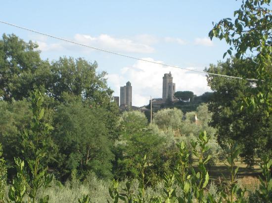 Hotel San Michele: Las torres de San Gimignano desde el jardín