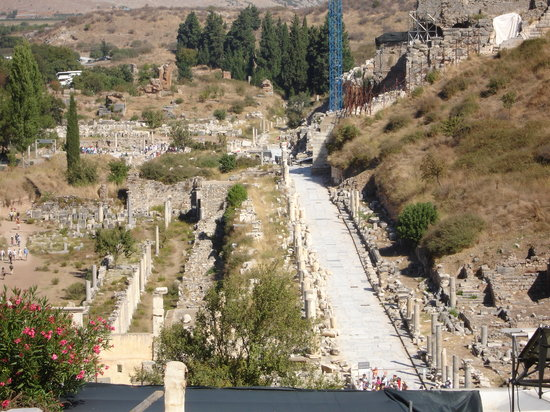 Ephesus Bus to Ephesus: view of marble road from terrace house..