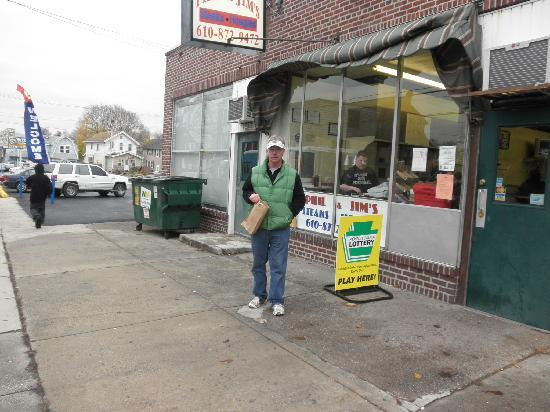 Phil & Jim's Delicatessen: with my hoagies in hand
