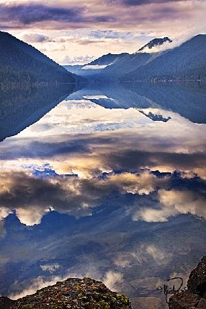 Reflections of clouds after the rain in Washington's Crescent Lake