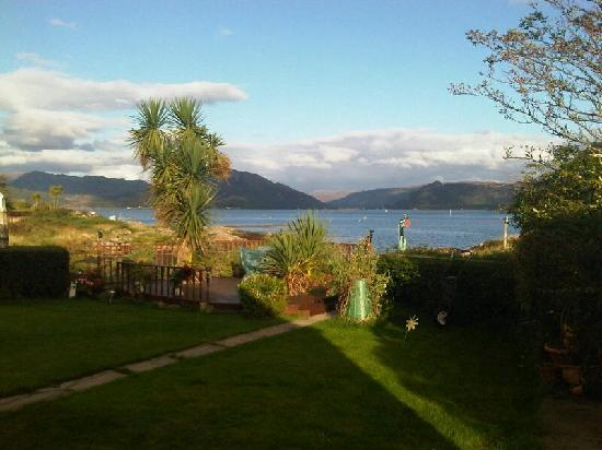 View from room window to bottom of garden at The Shieling, Plockton.