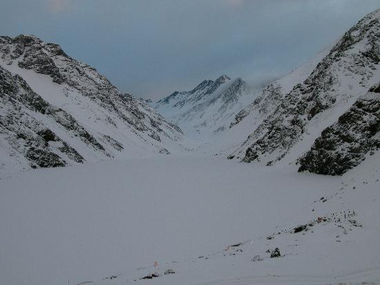 Portillo, Chile: Laguna del Inca viewed from my room.  Early morning twilight after a fresh snowfall.